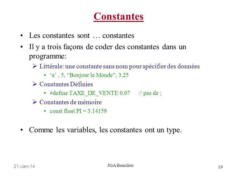 Constantes Les constantes sont … constantes