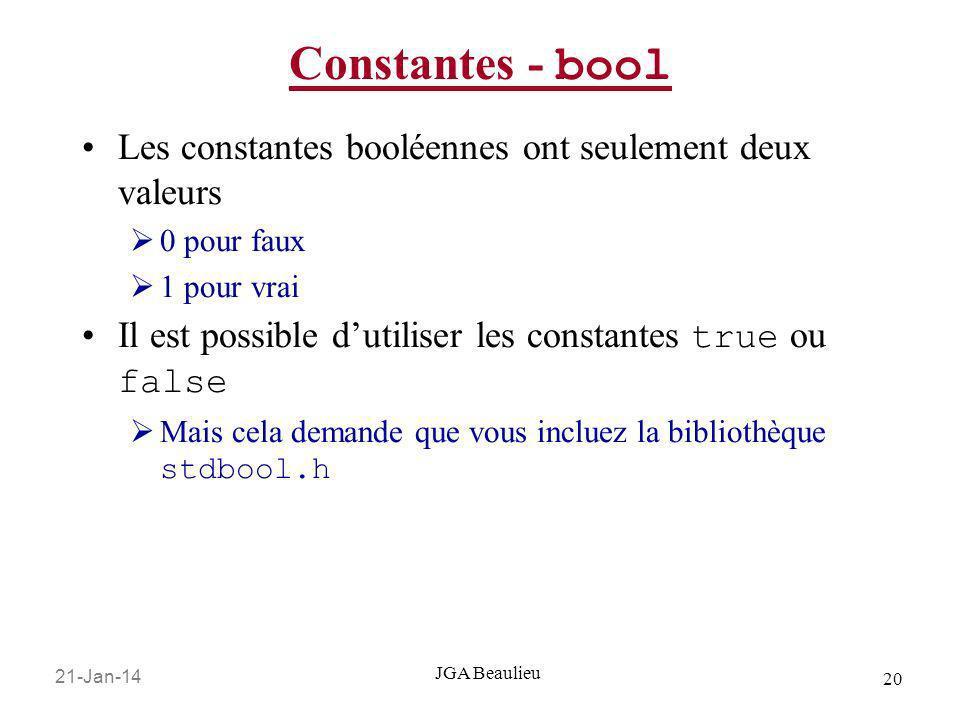 Constantes - bool Les constantes booléennes ont seulement deux valeurs