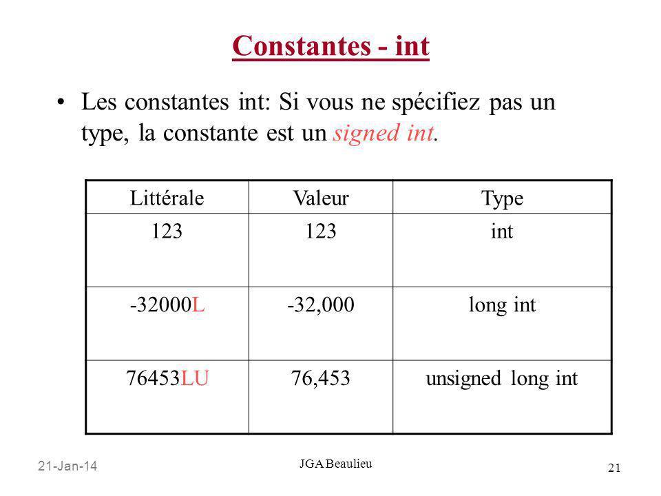 Constantes - int Les constantes int: Si vous ne spécifiez pas un type, la constante est un signed int.