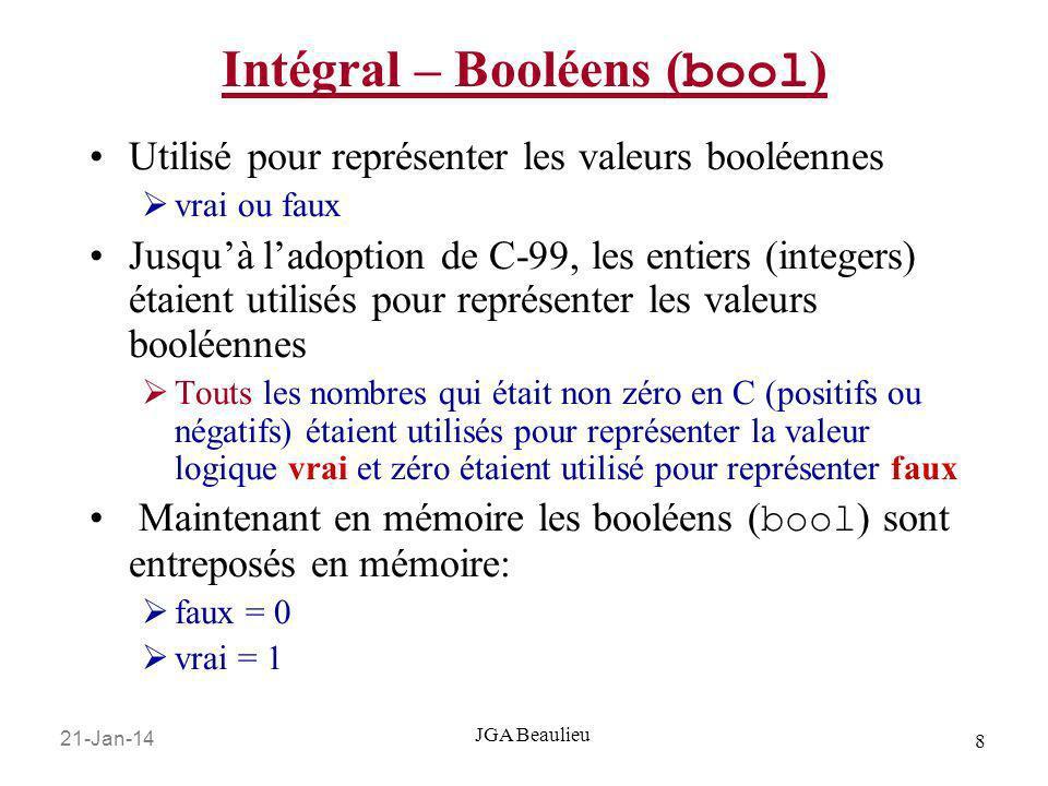 Intégral – Booléens (bool)