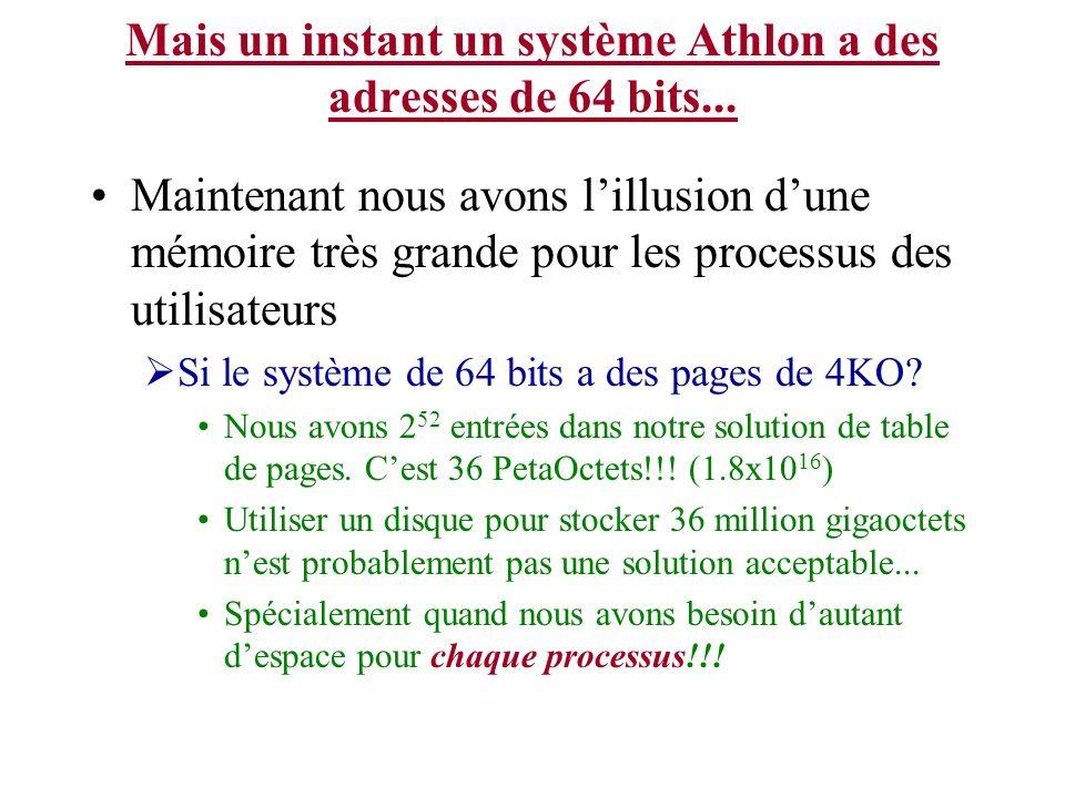 Mais un instant un système Athlon a des adresses de 64 bits...