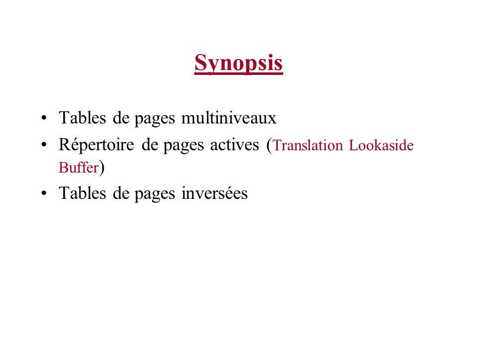 Synopsis Tables de pages multiniveaux