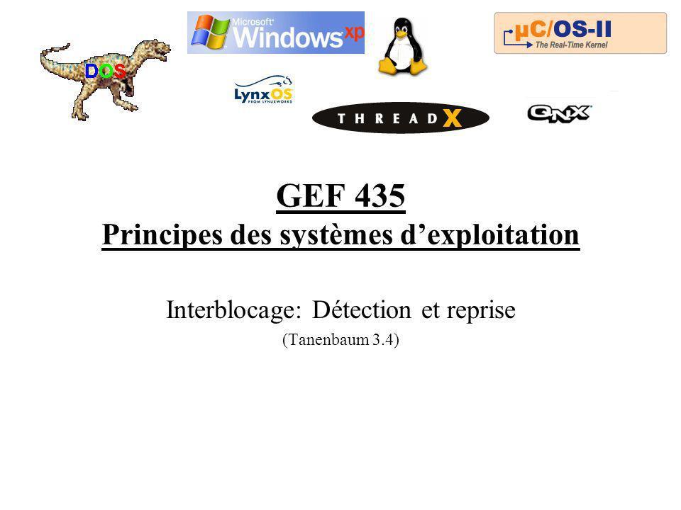 GEF 435 Principes des systèmes d'exploitation