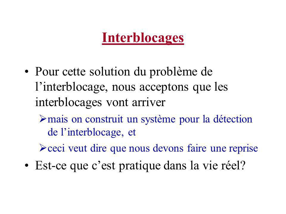 Interblocages Pour cette solution du problème de l'interblocage, nous acceptons que les interblocages vont arriver.