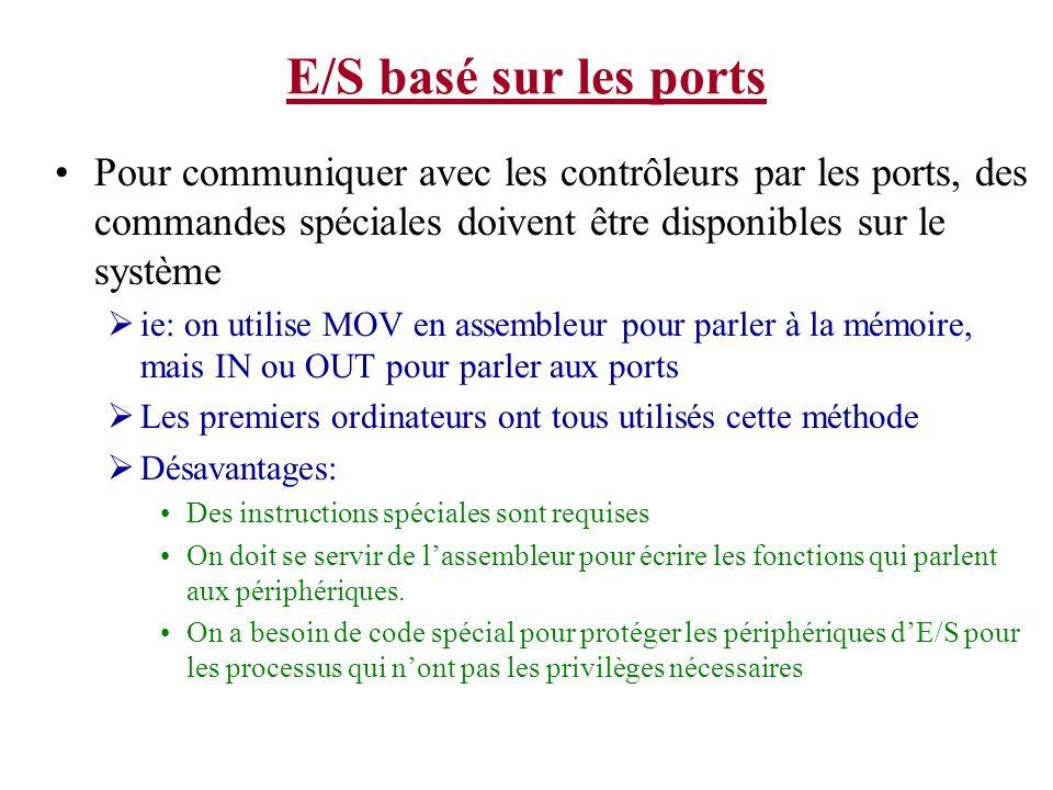 E/S basé sur les portsPour communiquer avec les contrôleurs par les ports, des commandes spéciales doivent être disponibles sur le système.