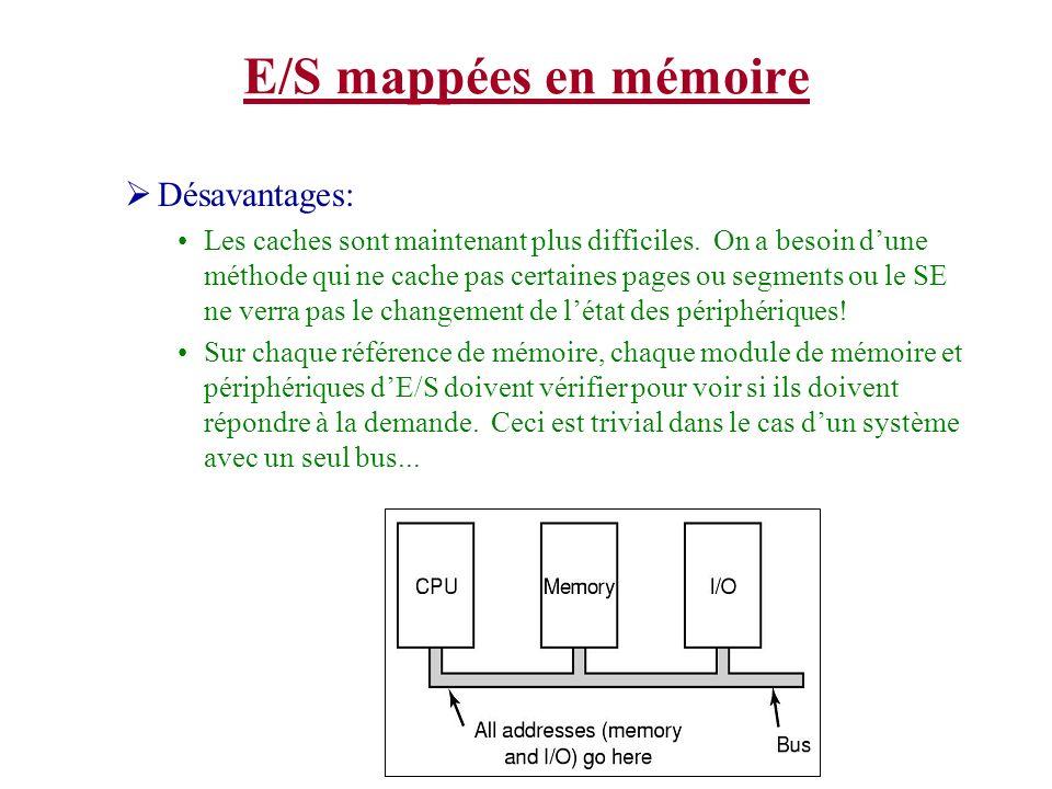 E/S mappées en mémoire Désavantages:
