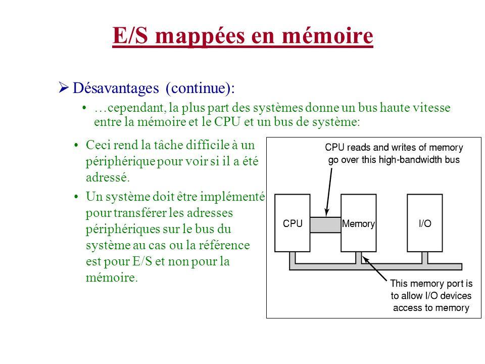 E/S mappées en mémoire Désavantages (continue):
