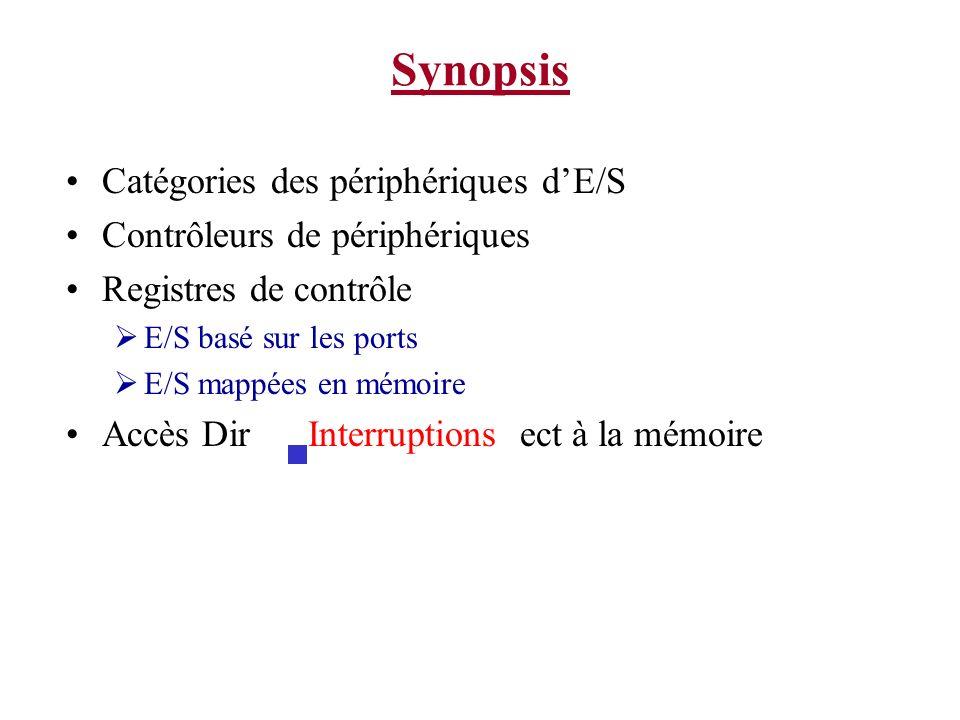 Synopsis Catégories des périphériques d'E/S