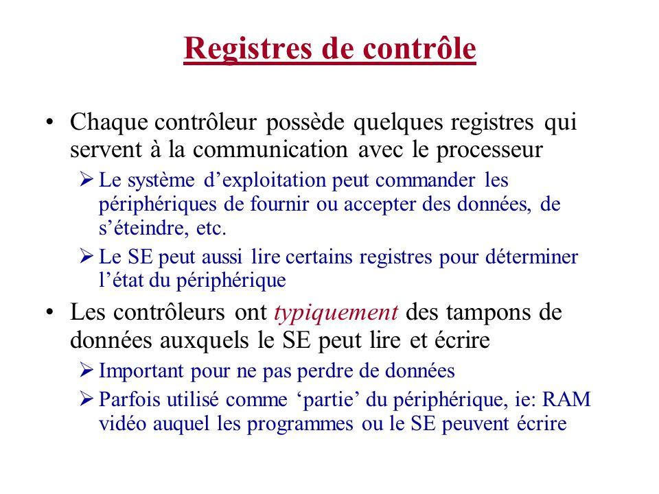 Registres de contrôle Chaque contrôleur possède quelques registres qui servent à la communication avec le processeur.