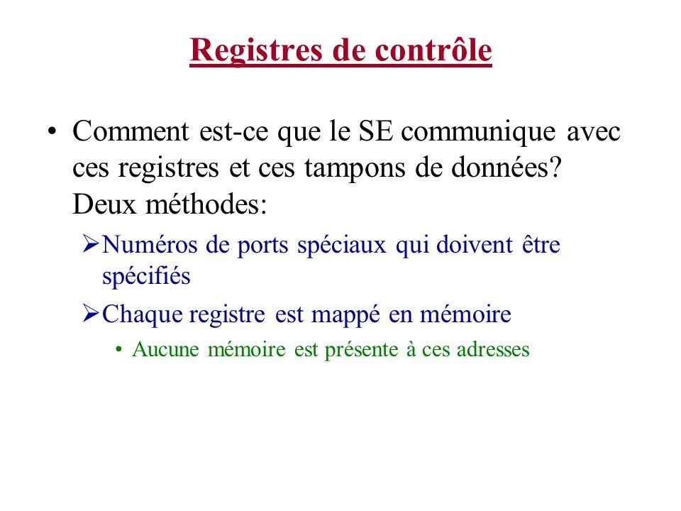 Registres de contrôle Comment est-ce que le SE communique avec ces registres et ces tampons de données Deux méthodes: