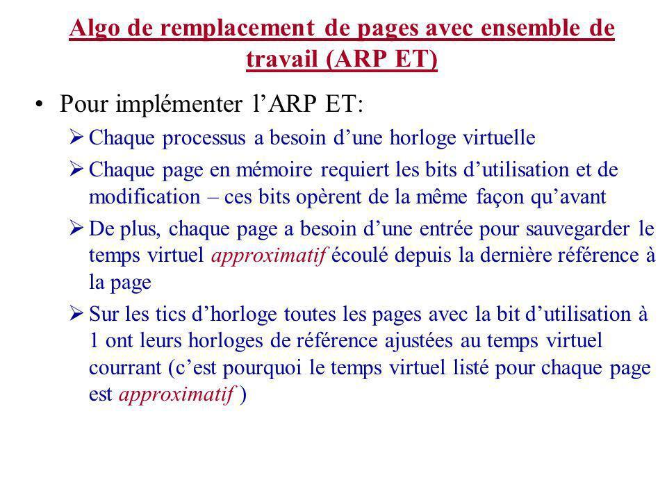 Algo de remplacement de pages avec ensemble de travail (ARP ET)