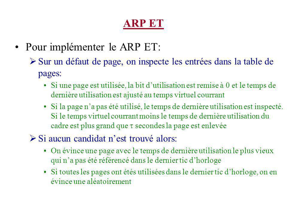 Pour implémenter le ARP ET: