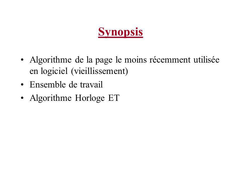 Synopsis Algorithme de la page le moins récemment utilisée en logiciel (vieillissement) Ensemble de travail.