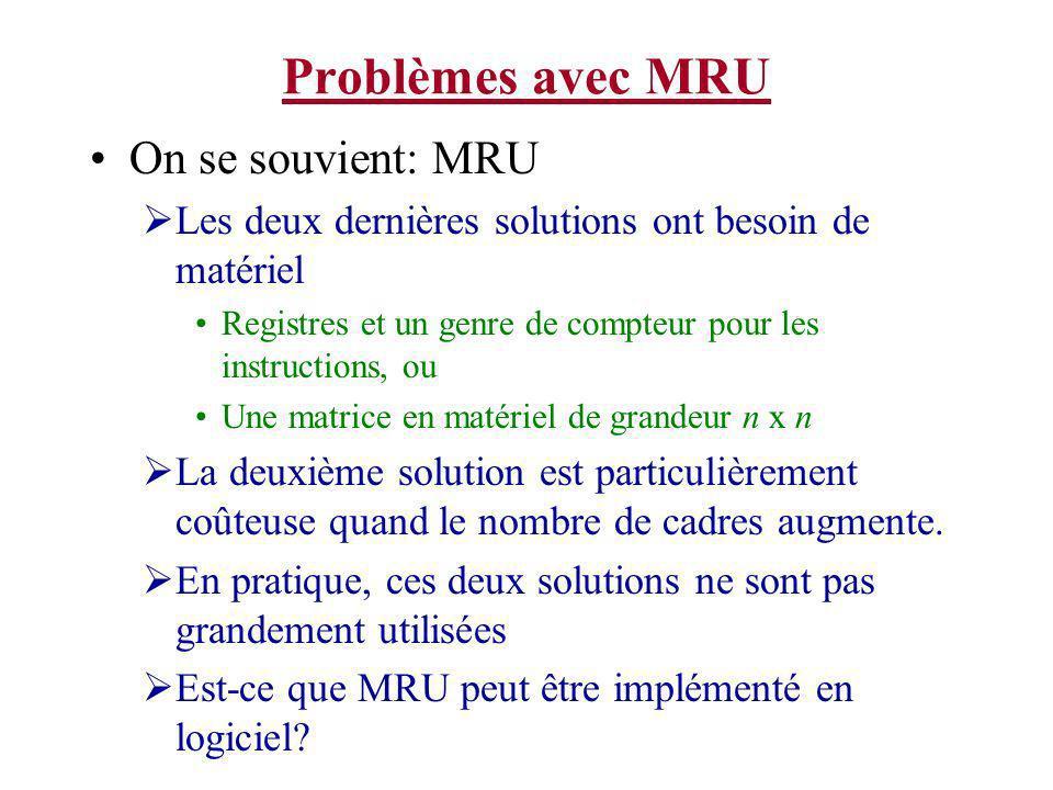 Problèmes avec MRU On se souvient: MRU