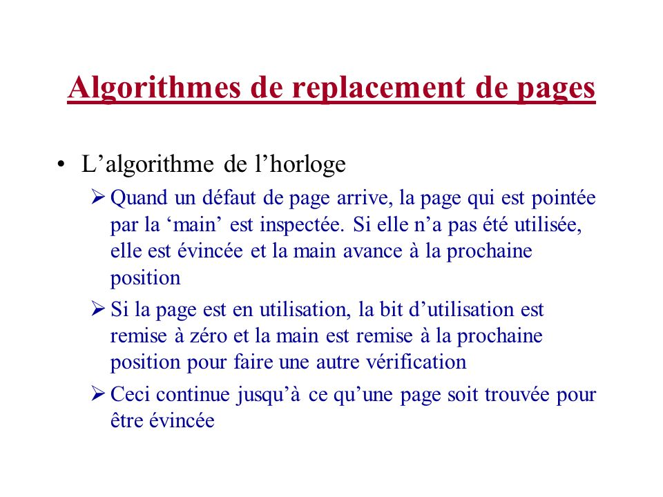 Algorithmes de replacement de pages