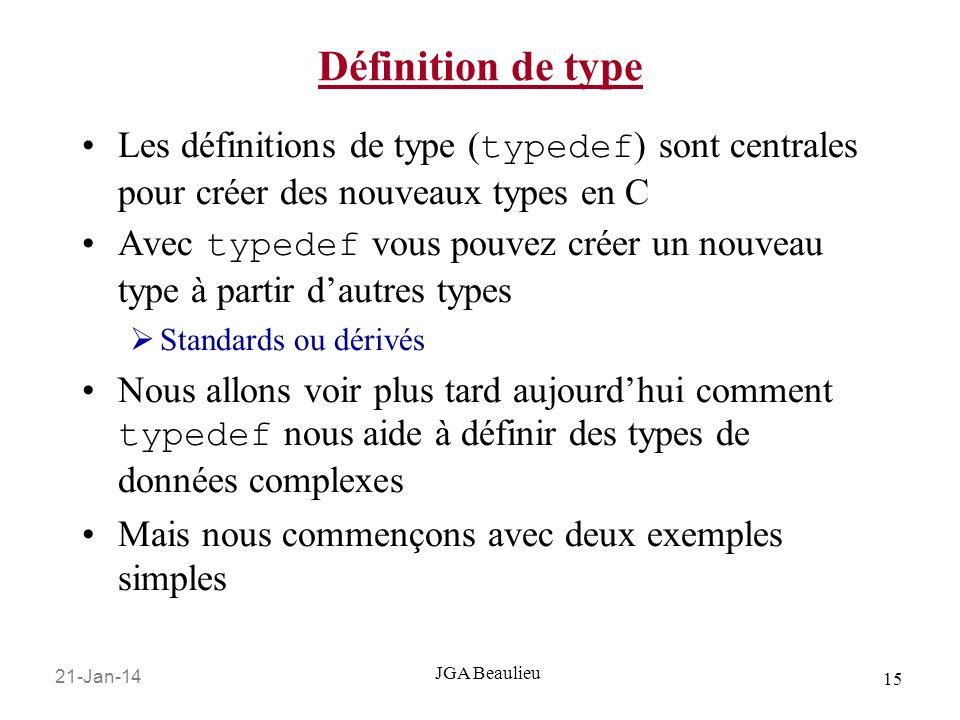 Définition de typeLes définitions de type (typedef) sont centrales pour créer des nouveaux types en C.
