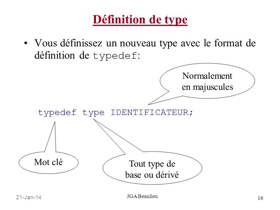 Définition de type Vous définissez un nouveau type avec le format de définition de typedef: typedef type IDENTIFICATEUR;