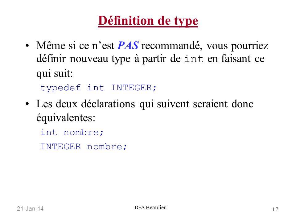 Définition de typeMême si ce n'est PAS recommandé, vous pourriez définir nouveau type à partir de int en faisant ce qui suit:
