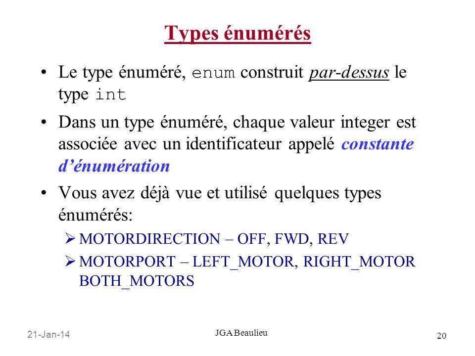 Types énumérés Le type énuméré, enum construit par-dessus le type int