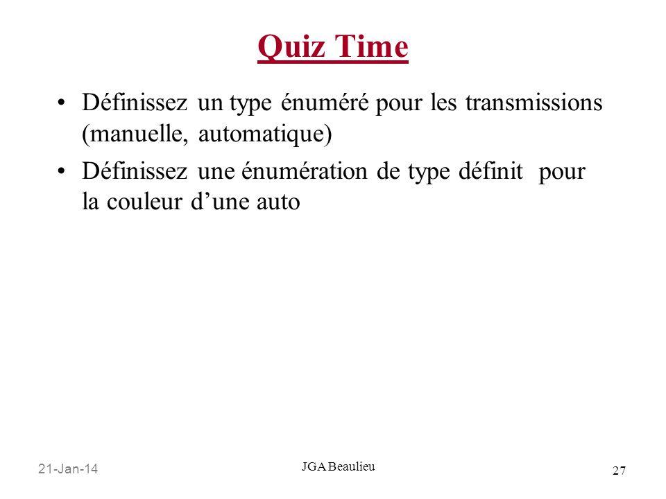 Quiz TimeDéfinissez un type énuméré pour les transmissions (manuelle, automatique)
