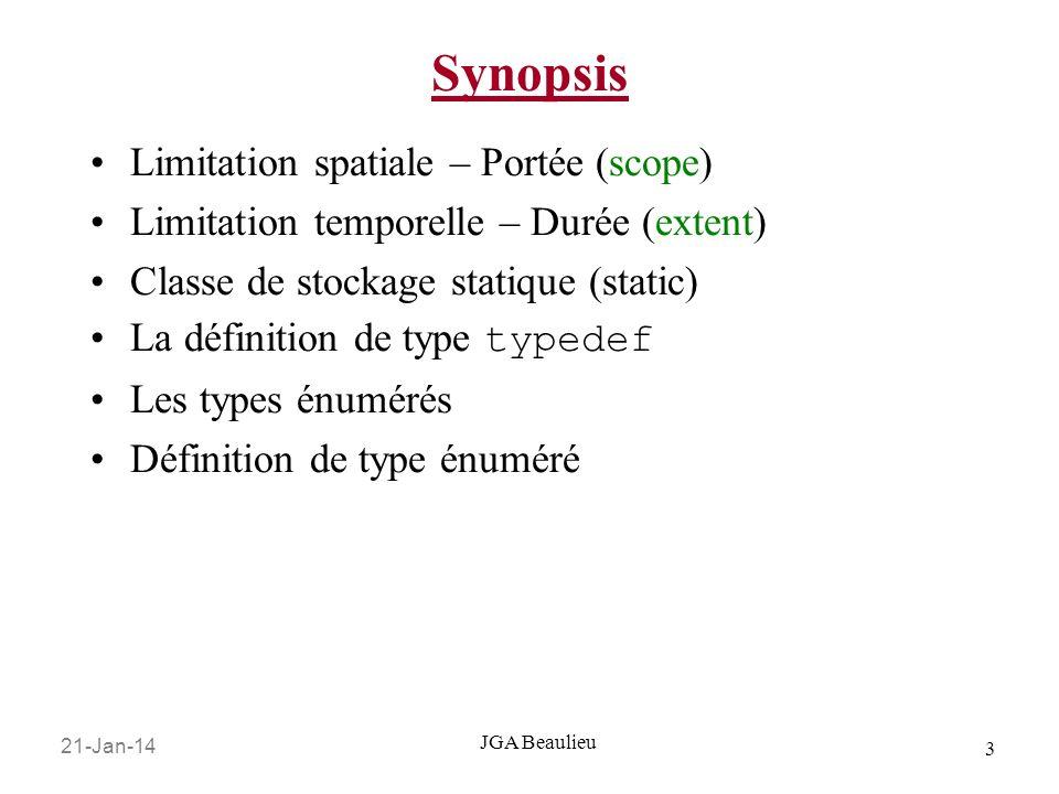 Synopsis Limitation spatiale – Portée (scope)