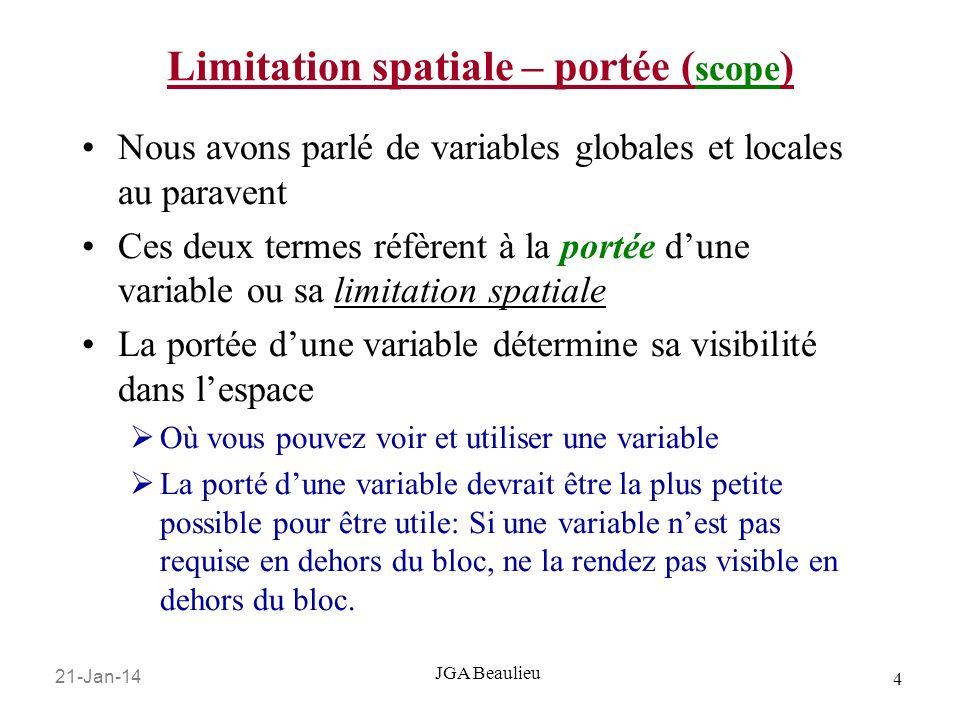 Limitation spatiale – portée (scope)