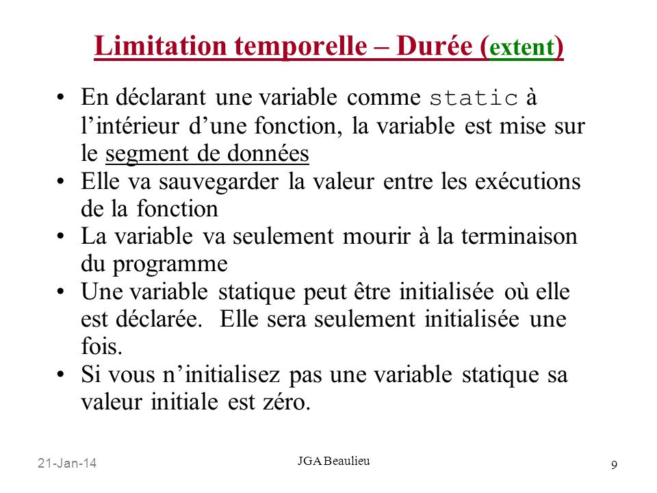 Limitation temporelle – Durée (extent)