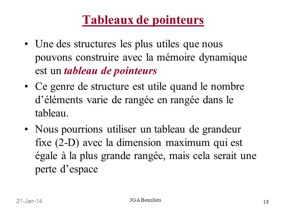 Tableaux de pointeurs Une des structures les plus utiles que nous pouvons construire avec la mémoire dynamique est un tableau de pointeurs.