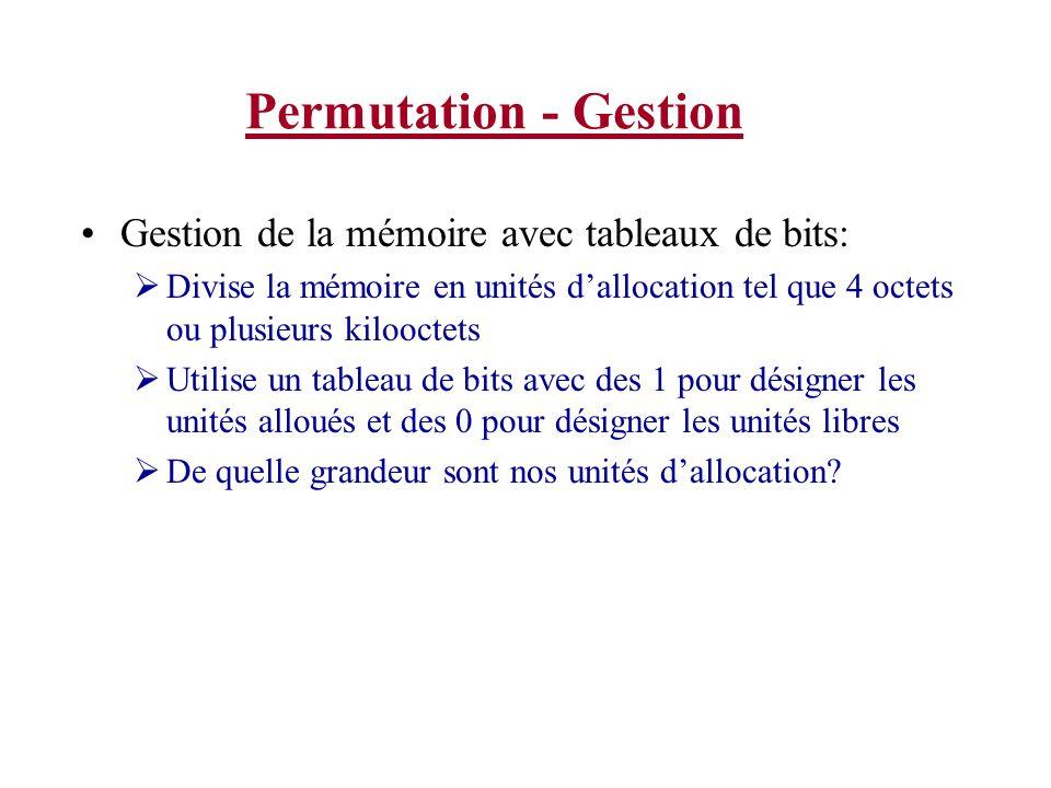 Permutation - Gestion Gestion de la mémoire avec tableaux de bits: