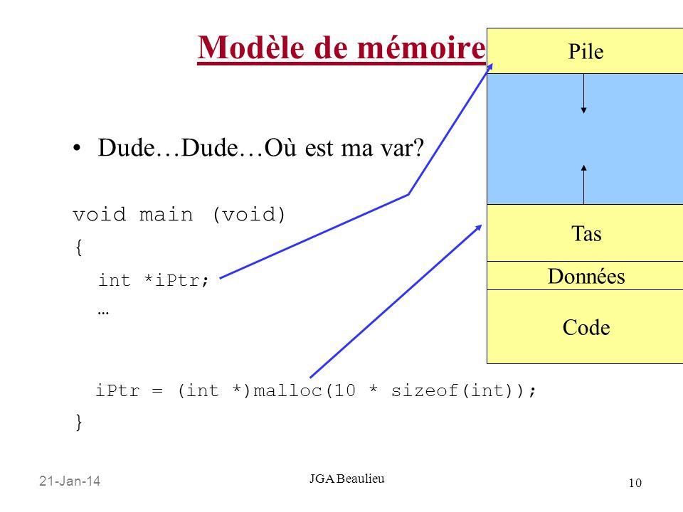 Modèle de mémoire Dude…Dude…Où est ma var Pile void main (void) {