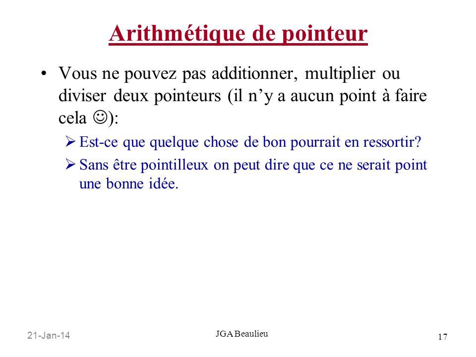 Arithmétique de pointeur