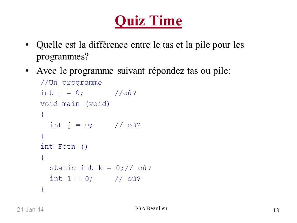 Quiz Time Quelle est la différence entre le tas et la pile pour les programmes Avec le programme suivant répondez tas ou pile: