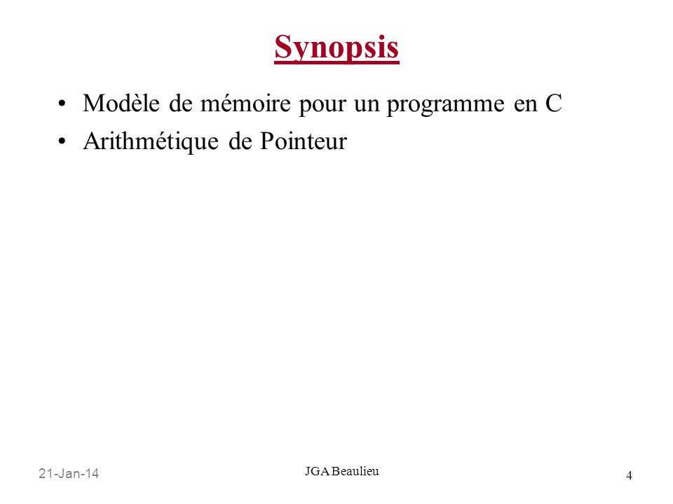 Synopsis Modèle de mémoire pour un programme en C