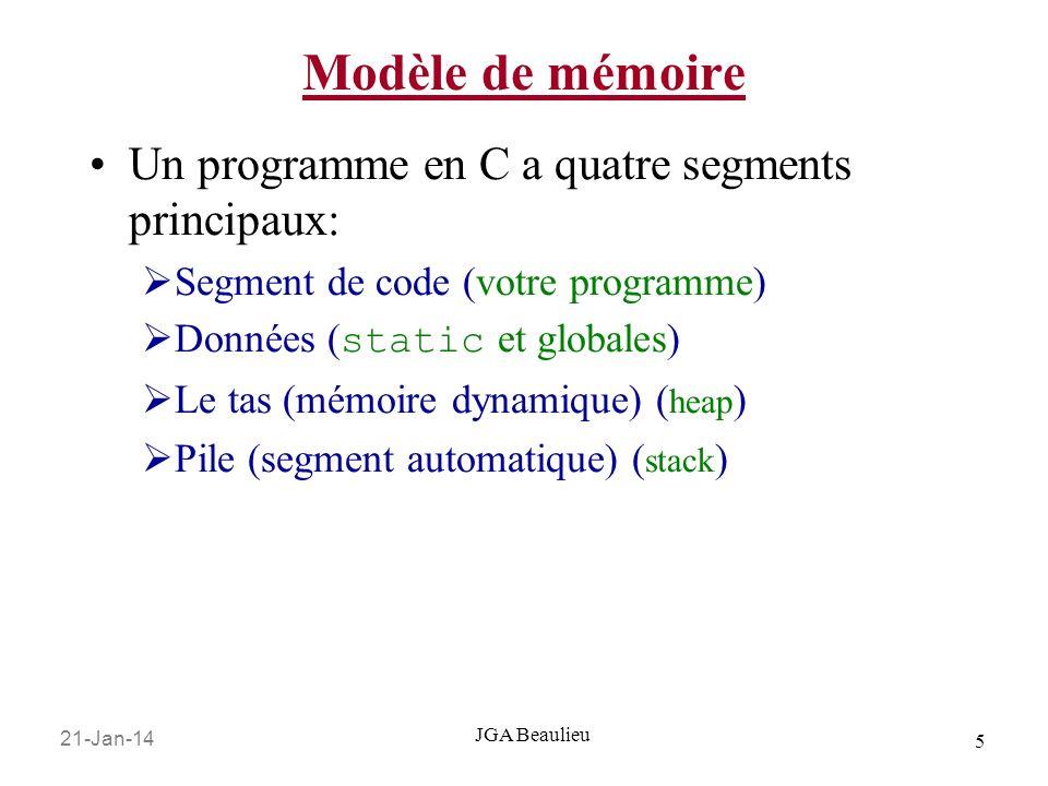 Modèle de mémoire Un programme en C a quatre segments principaux: