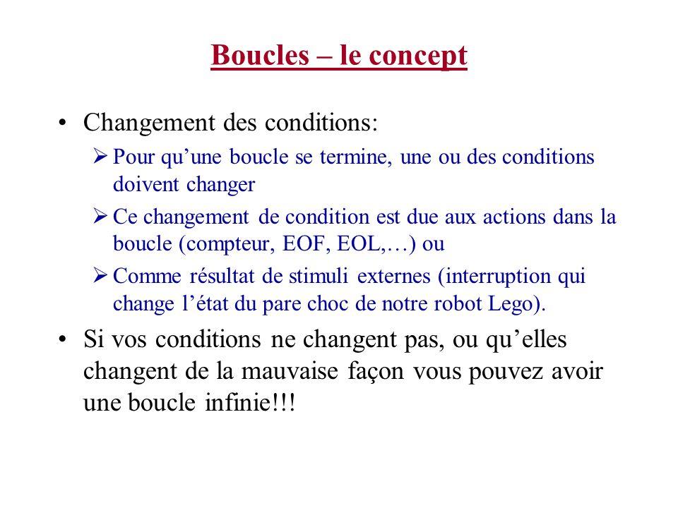 Boucles – le concept Changement des conditions: