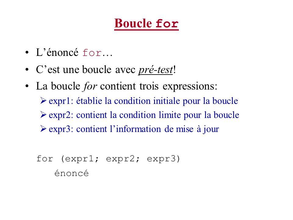 Boucle for L'énoncé for… C'est une boucle avec pré-test!