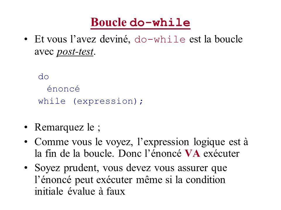 Boucle do-while Et vous l'avez deviné, do-while est la boucle avec post-test. do. énoncé. while (expression);
