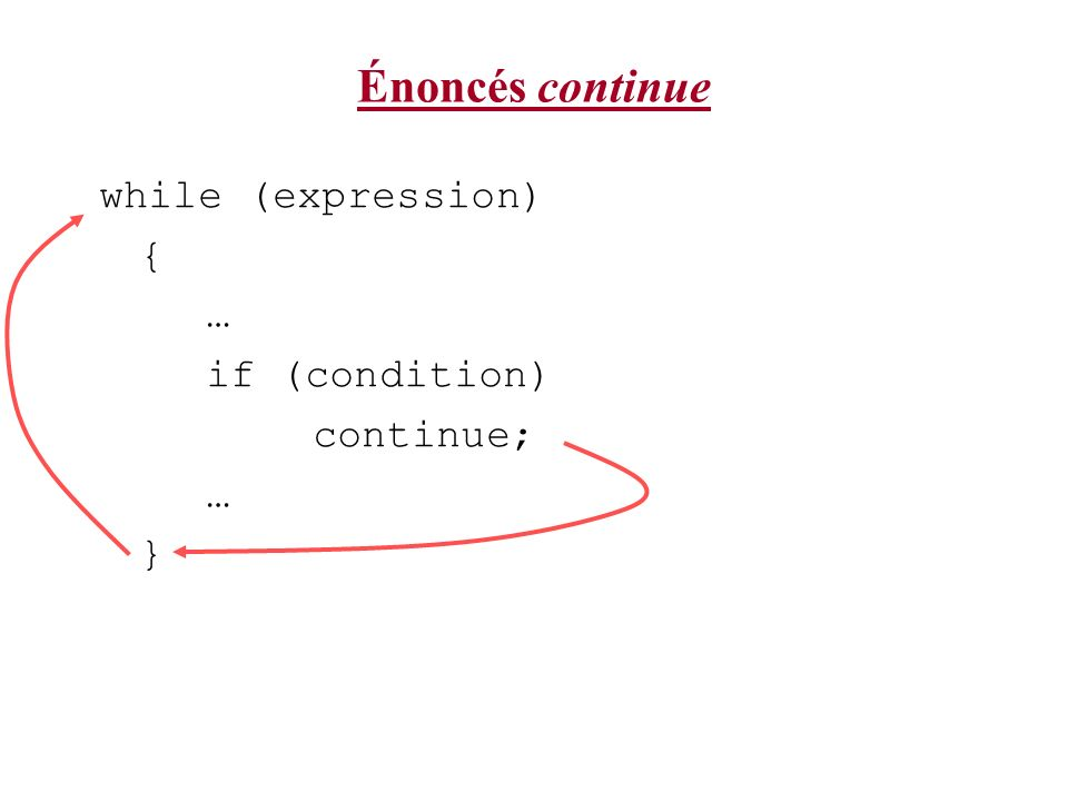 Énoncés continue while (expression) { … if (condition) continue; }