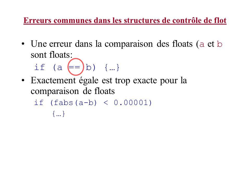 Erreurs communes dans les structures de contrôle de flot