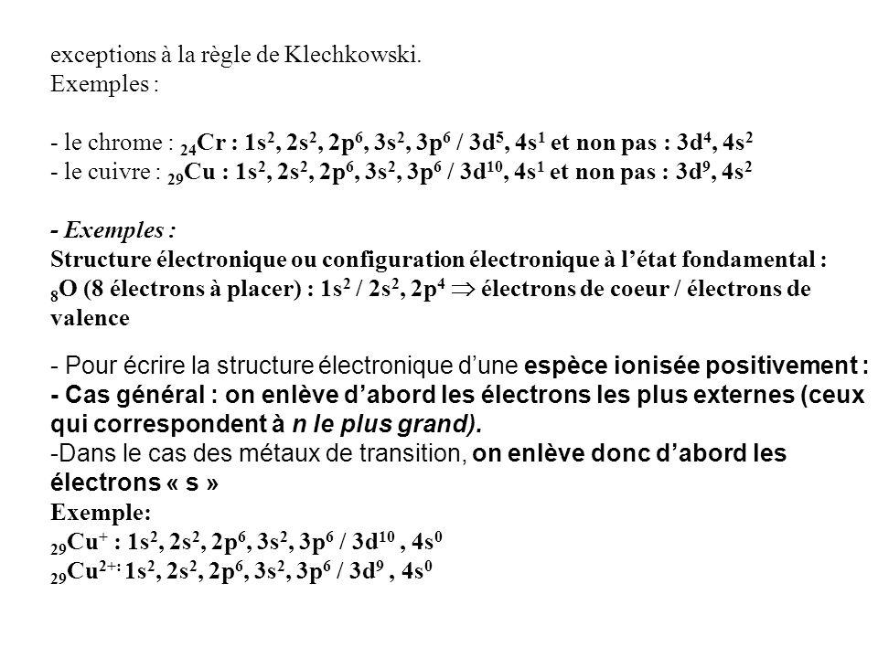 exceptions à la règle de Klechkowski. Exemples :