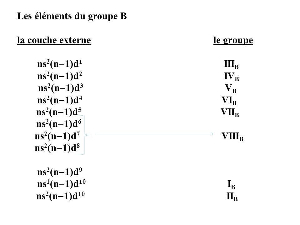 Les éléments du groupe B la couche externe le groupe ns2(n1)d1 IIIB ns2(n1)d2 IVB ns2(n1)d3 VB ns2(n1)d4 VIB ns2(n1)d5 VIIB ns2(n1)d6 ns2(n1)d7 VIIIB ns2(n1)d8 ns2(n1)d9 ns1(n1)d10 IB ns2(n1)d10 IIB