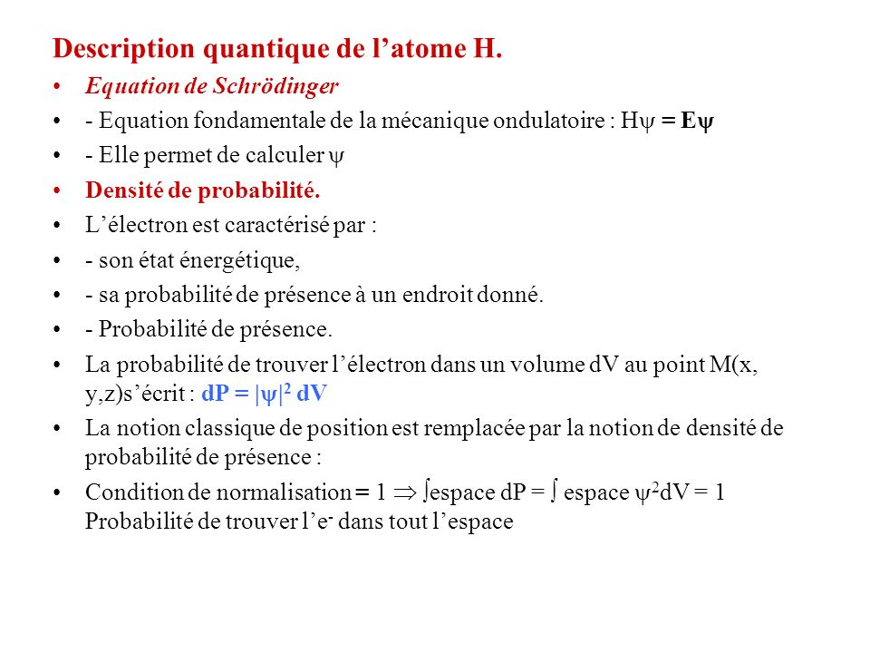 Description quantique de l'atome H.