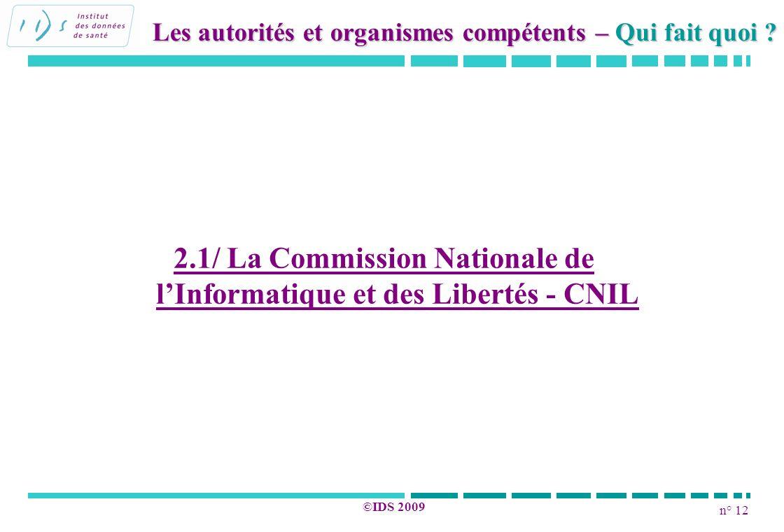2.1/ La Commission Nationale de l'Informatique et des Libertés - CNIL