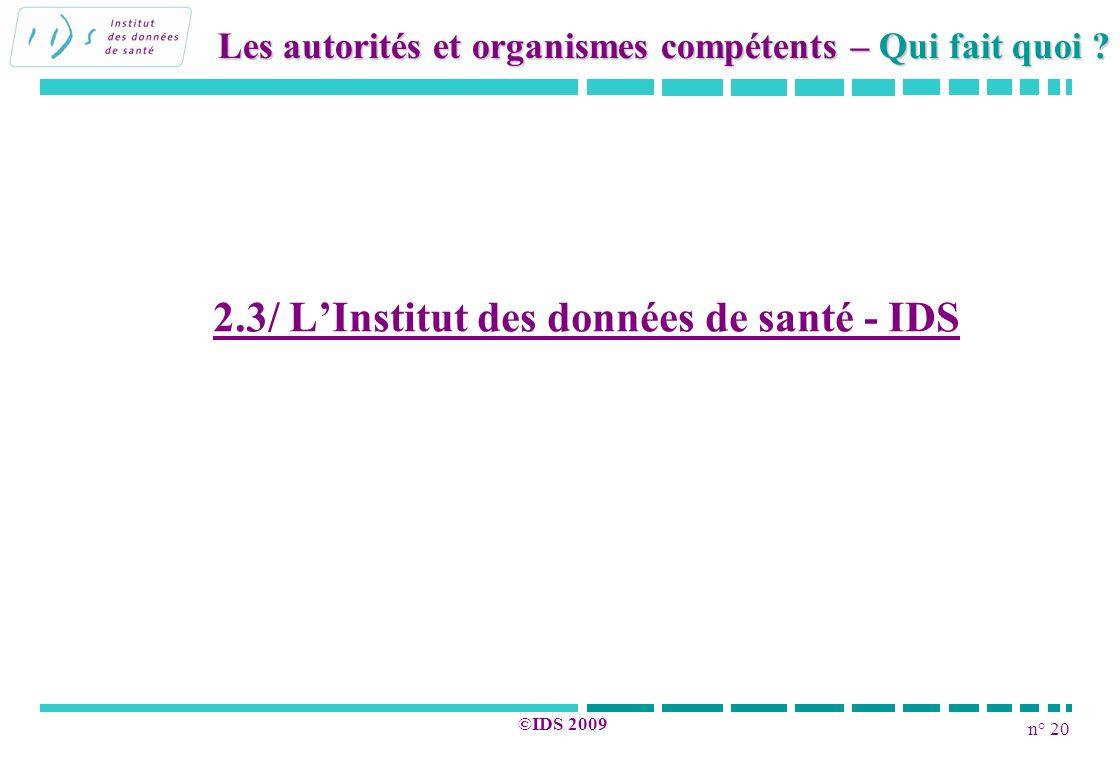 2.3/ L'Institut des données de santé - IDS