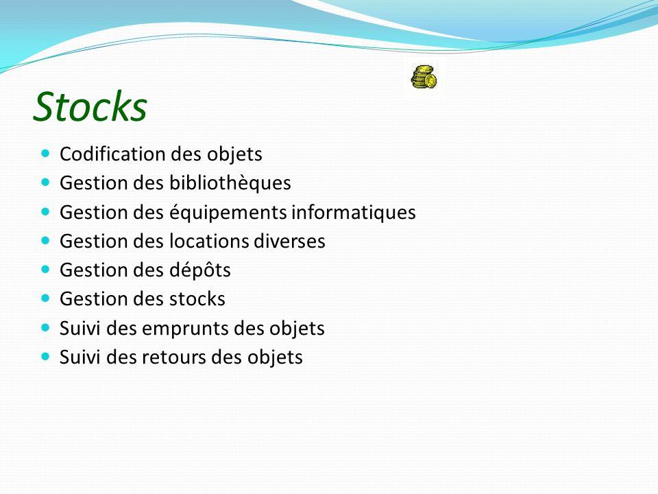 Stocks Codification des objets Gestion des bibliothèques