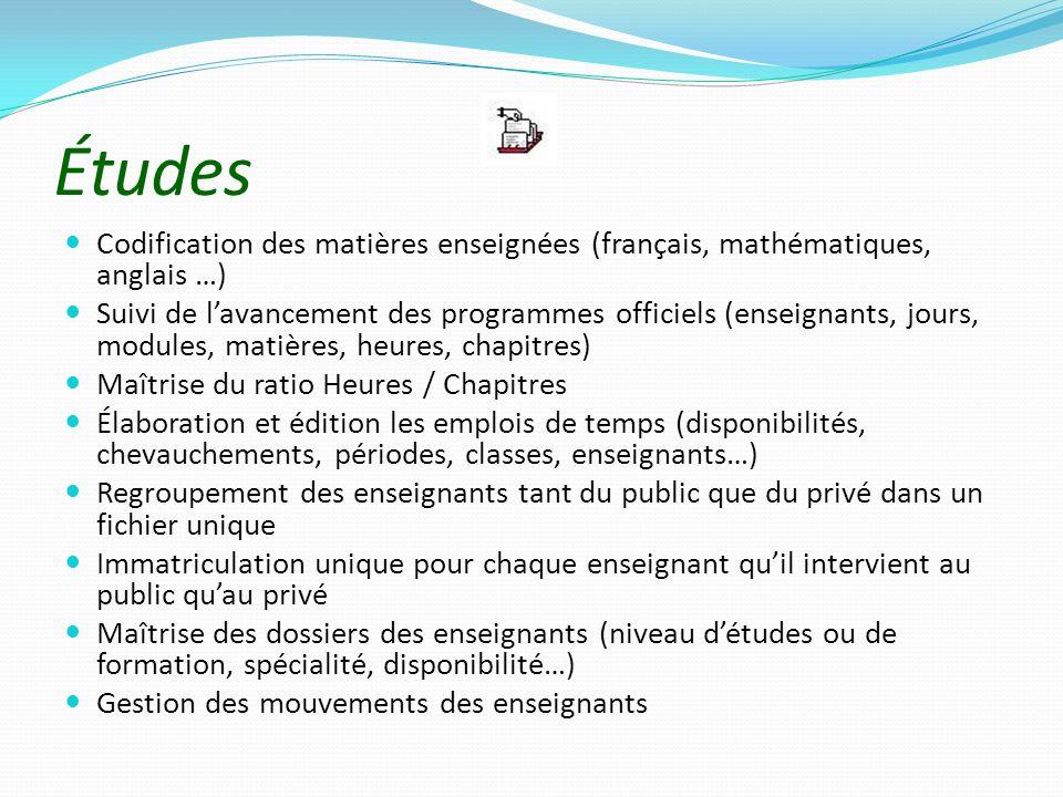 Études Codification des matières enseignées (français, mathématiques, anglais …)
