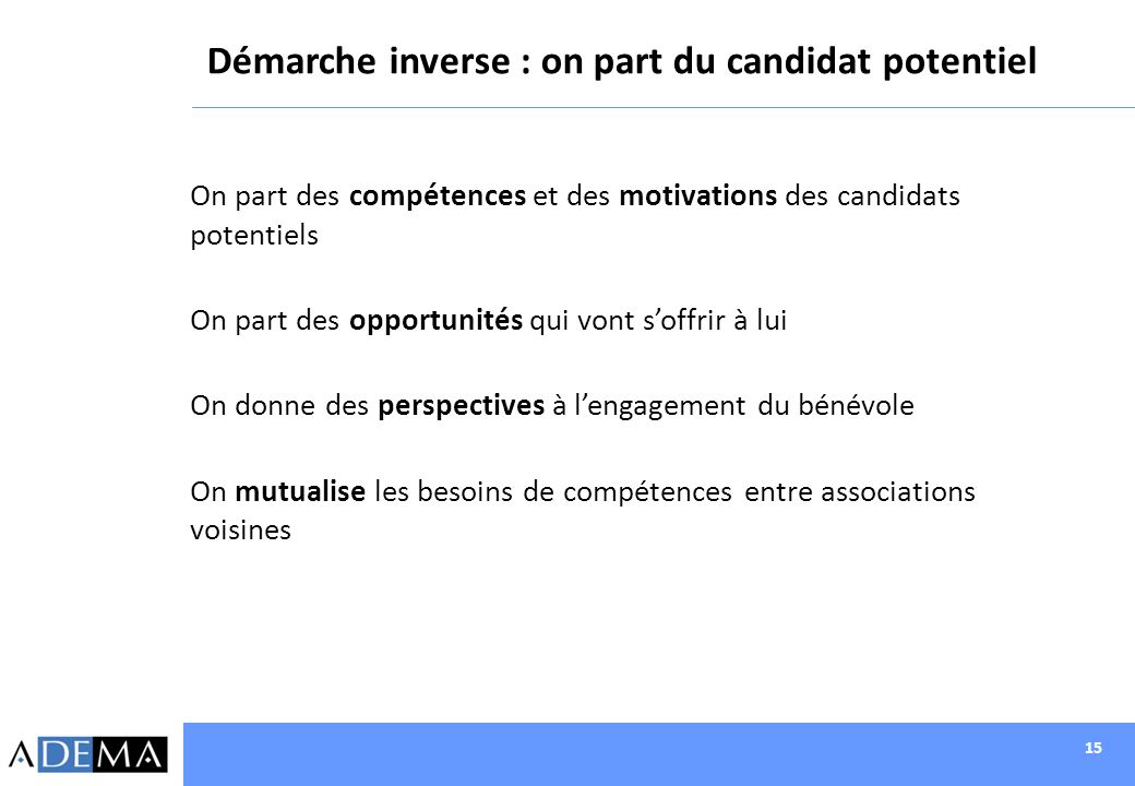 Démarche inverse : on part du candidat potentiel