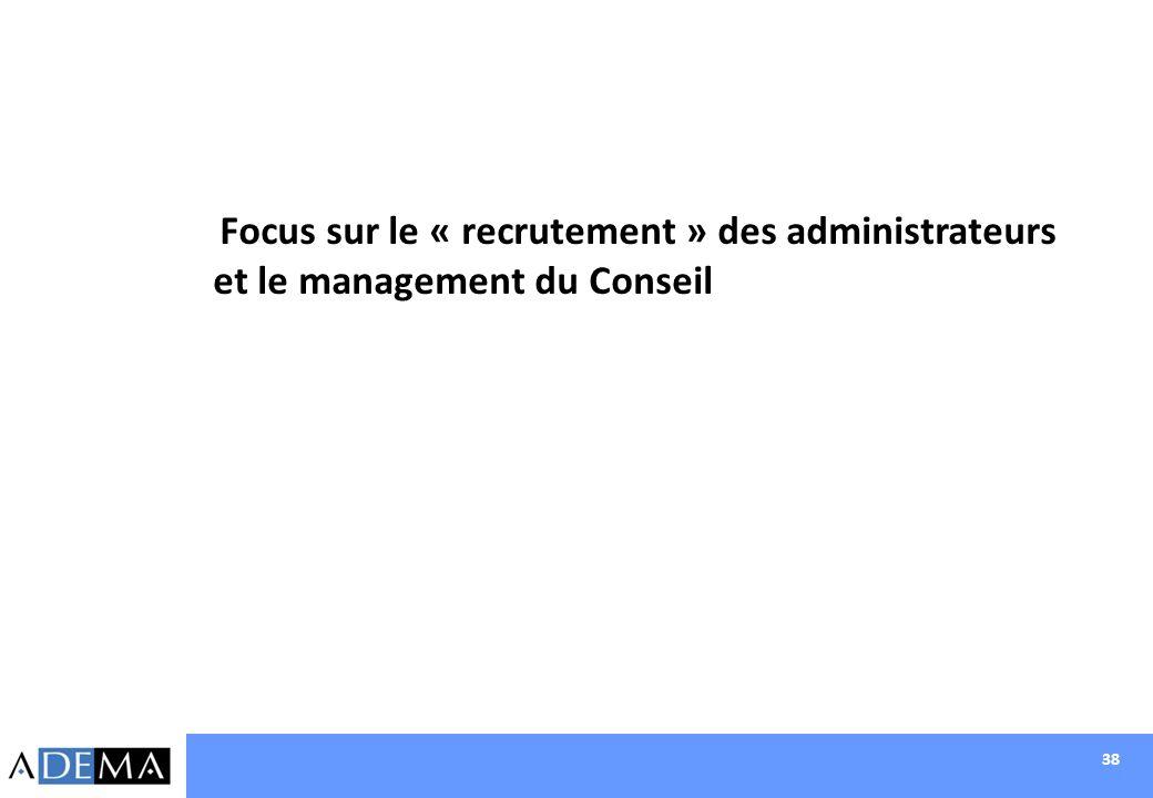 Focus sur le « recrutement » des administrateurs et le management du Conseil