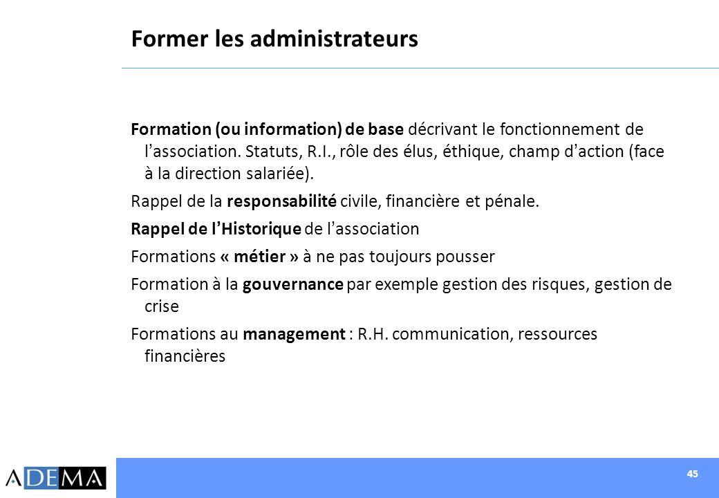 Former les administrateurs
