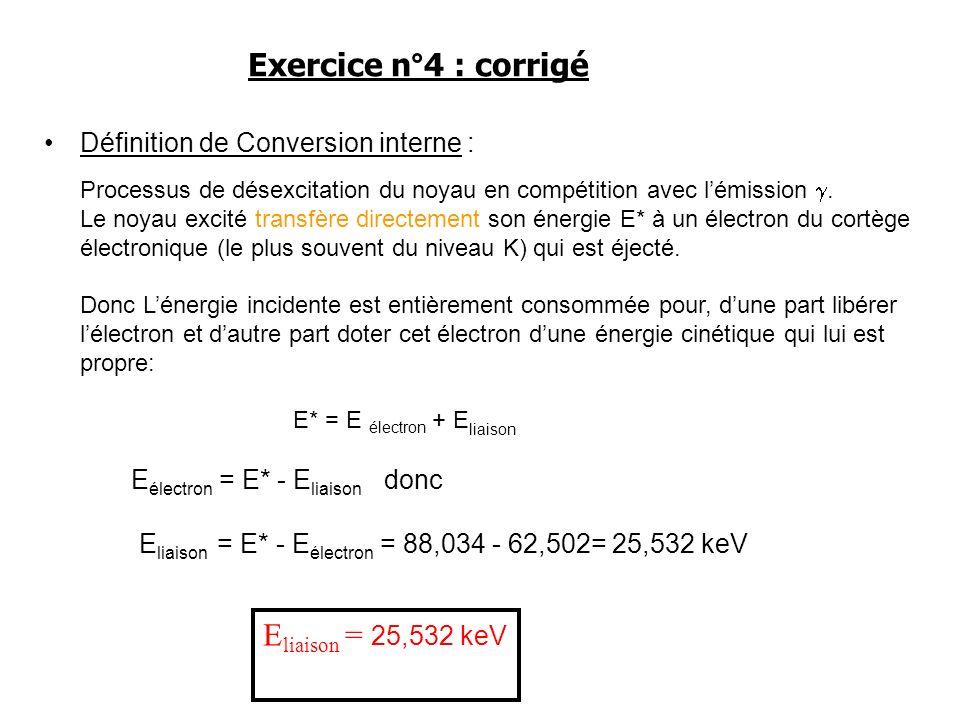 Exercice n°4 : corrigé Eliaison = 25,532 keV